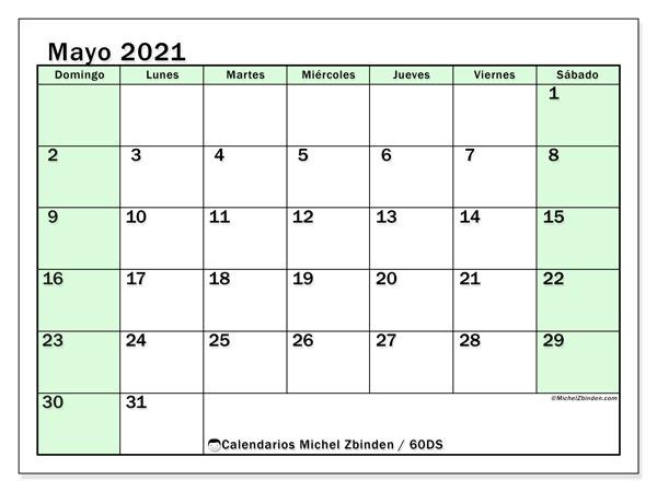 Calendario mayo 2021, 60DS. Calendario para imprimir gratis.