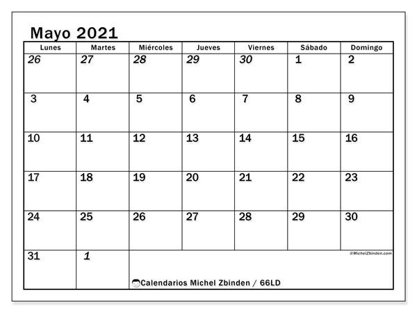 Calendario mayo 2021, 66LD. Almanaque para imprimir gratis.