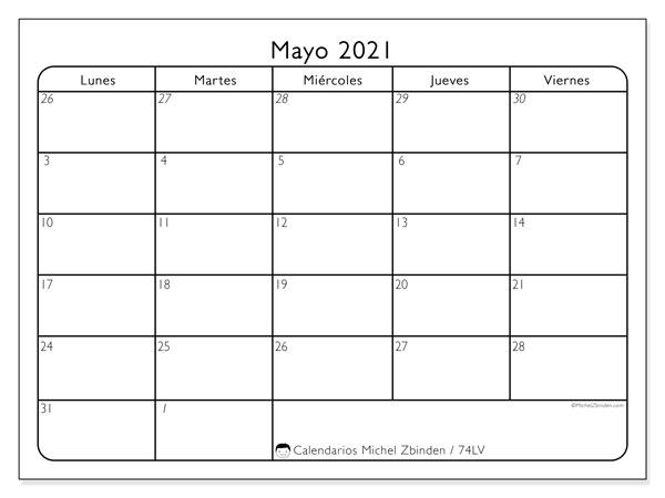 Calendario mayo 2021, 74LD. Planificación para imprimir gratis.