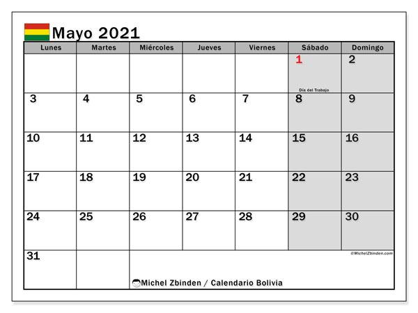 Calendario mayo 2021, con días feriados de Bolivia. Calendario para imprimir gratis con días festivos.