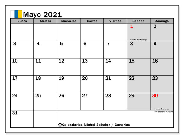Calendario mayo 2021, con días feriados en las Islas Canarias. Calendario para imprimir gratis con días festivos.