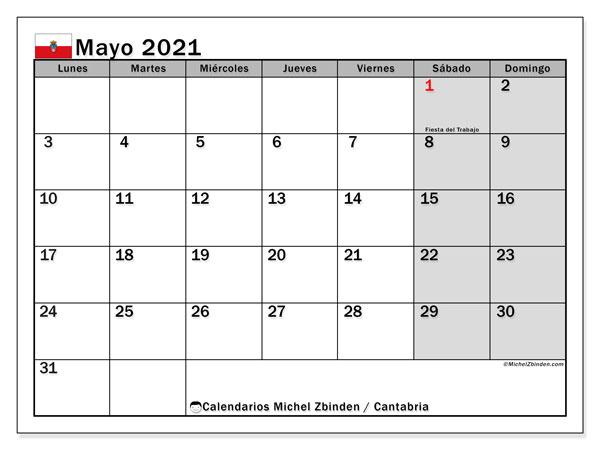 Calendario mayo 2021, con días feriados en Cantabria. Calendario vacaciones y festivos para imprimir gratis.