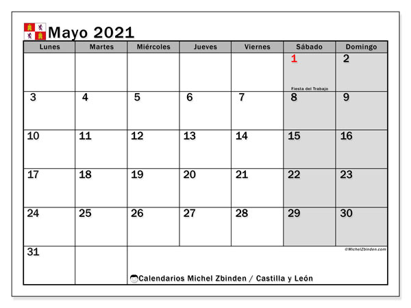 Calendario mayo 2021, con días feriados de Castilla y León. Calendario para imprimir gratis con días festivos.