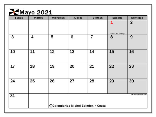 Calendario mayo 2021, con días feriados en Ceuta. Calendario para imprimir gratis con días festivos.