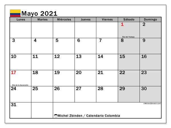 """Calendario """"Colombia"""" mayo de 2021 para imprimir   Michel Zbinden ES"""