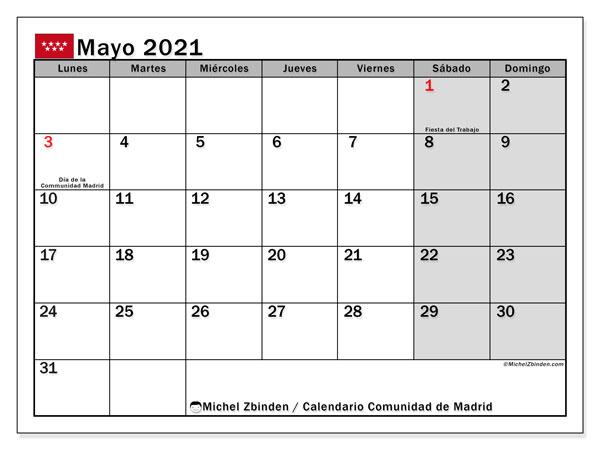 Calendario mayo 2021, con días feriados de la Comunidad de Madrid. Calendario vacaciones y festivos para imprimir gratis.