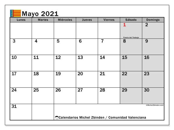 Calendario mayo 2021, con días feriados de la Comunidad Valenciana. Calendario vacaciones y festivos para imprimir gratis.