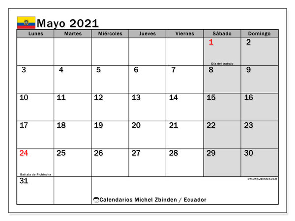 Calendario mayo 2021, con días feriados en Ecuador. Calendario vacaciones y festivos para imprimir gratis.