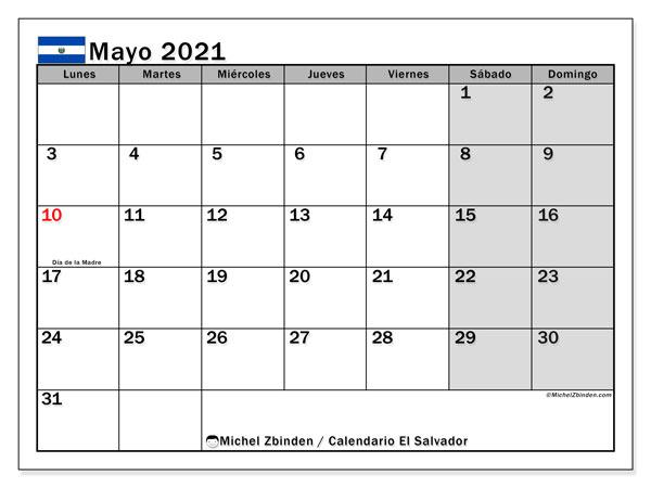 Calendario mayo 2021, con días feriados en El Salvador. Calendario para imprimir gratis con días festivos.