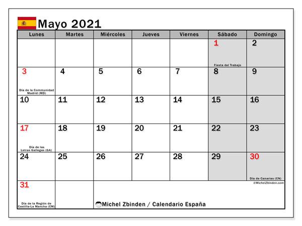 Calendario mayo 2021, con días feriados en España. Calendario para imprimir gratis con días festivos.