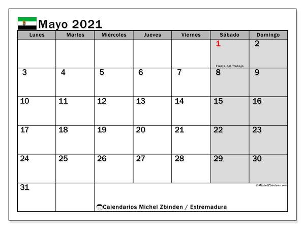 Calendario mayo 2021, con días feriados en Extremadura. Calendario vacaciones y festivos para imprimir gratis.