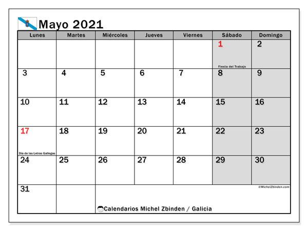 Calendario mayo 2021, con días feriados en Galicia. Calendario para imprimir gratis con días festivos.