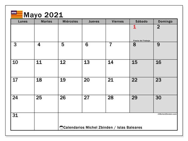 Calendario mayo 2021, con días feriados en las Islas Baleares. Calendario para imprimir gratis con días festivos.