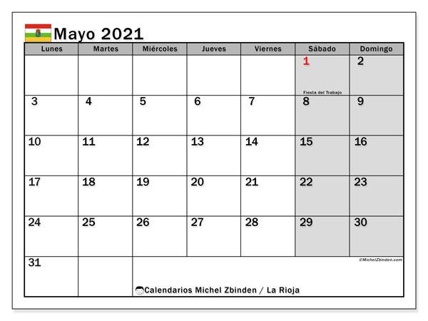 Calendario mayo 2021, con días feriados en La Rioja. Calendario para imprimir gratis con días festivos.