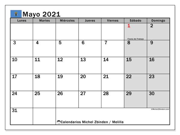 Calendario mayo 2021, con días feriados en Melilla. Calendario para imprimir gratis con días festivos.