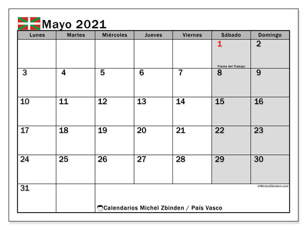 Calendario mayo 2021, con días feriados en el País Vasco. Calendario vacaciones y festivos para imprimir gratis.