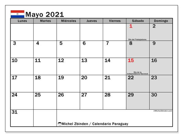 Calendario mayo 2021, con días feriados en Paraguay. Calendario vacaciones y festivos para imprimir gratis.