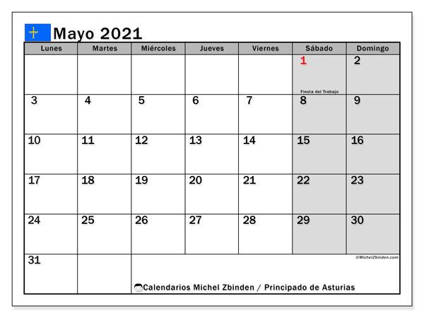 Calendario mayo 2021, con días feriados del Principado de Asturias. Calendario para imprimir gratis con días festivos.