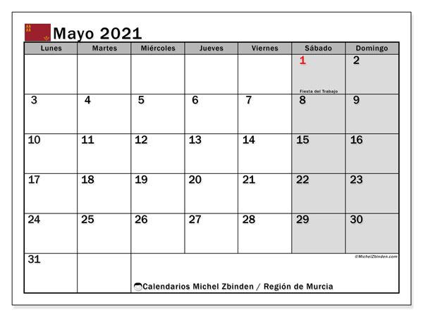 Calendario mayo 2021, con días feriados en la Región de Murcia. Calendario para imprimir gratis con días festivos.