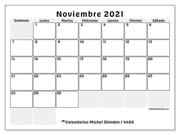 Calendario noviembre 2021, 44DS. Calendario mensual para imprimir gratis.