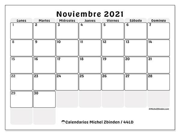 Calendario noviembre 2021, 44LD. Almanaque para imprimir gratis.