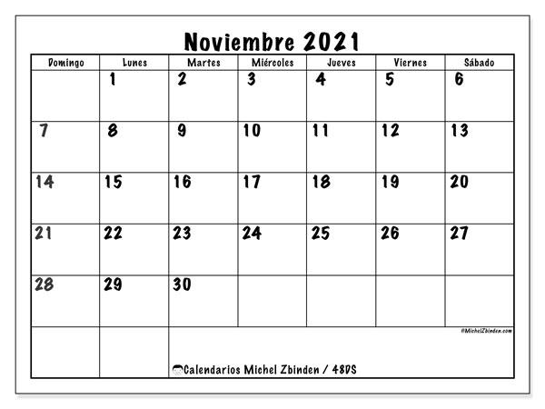 """Calendario """"48DS"""" noviembre de 2021 para imprimir   Michel Zbinden ES"""