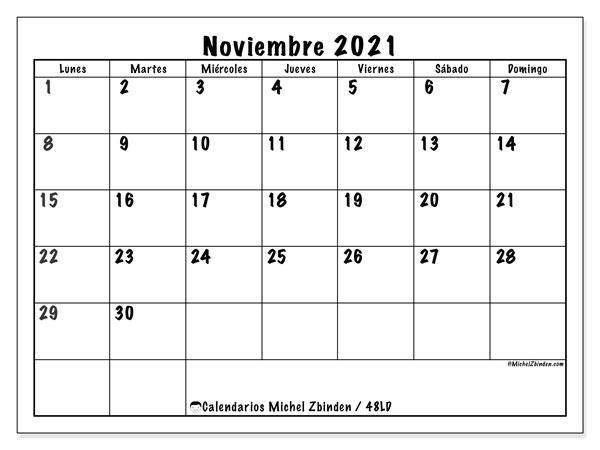 """Calendario """"48LD"""" noviembre de 2021 para imprimir   Michel Zbinden ES"""