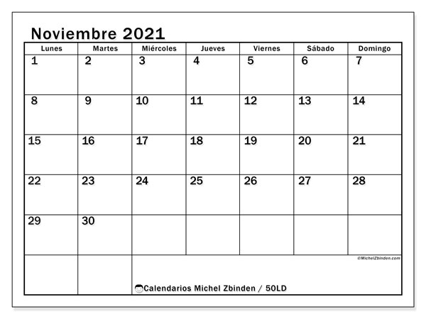 Calendario noviembre 2021, 50LD. Almanaque para imprimir gratis.