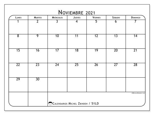 Calendario noviembre 2021, 51LD. Calendario para imprimir gratis.