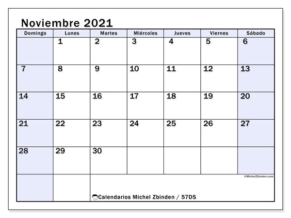 Calendario noviembre 2021, 57DS. Calendario imprimible gratis.