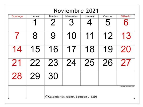 Calendario noviembre 2021, 62DS. Calendario mensual para imprimir gratis.