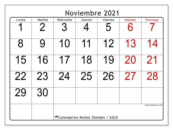 """Calendario """"62LD"""" noviembre de 2021 para imprimir   Michel Zbinden ES"""