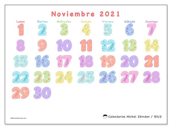 Calendario noviembre 2021, 83LD. Calendario para imprimir gratis.