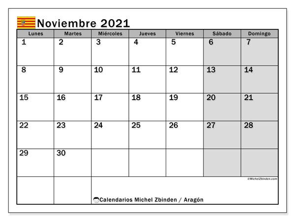 Calendario noviembre 2021, con días feriados de Aragón. Calendario para imprimir gratis con días festivos.