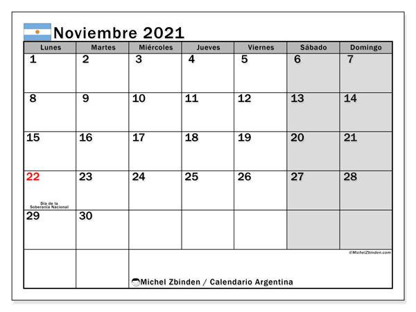 "Calendarios noviembre 2021 ""Días feriados""   Michel Zbinden ES"