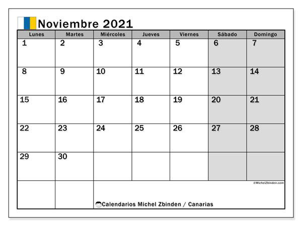 Calendario noviembre 2021, con días feriados en las Islas Canarias. Calendario vacaciones y festivos para imprimir gratis.