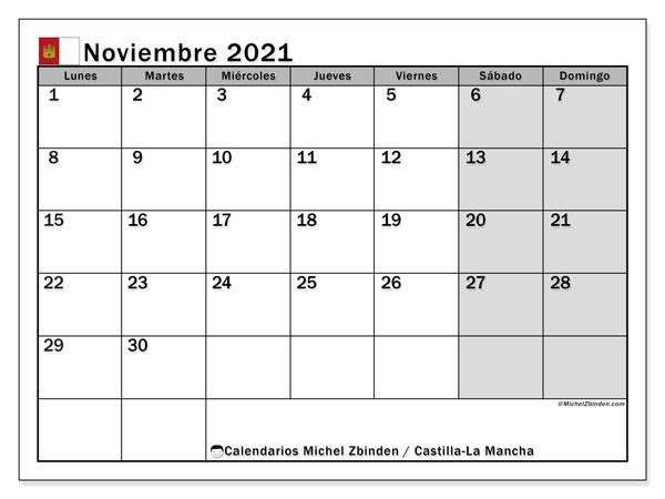 Calendario noviembre 2021, con días feriados en Castilla-La Mancha. Calendario para imprimir gratis con días festivos.
