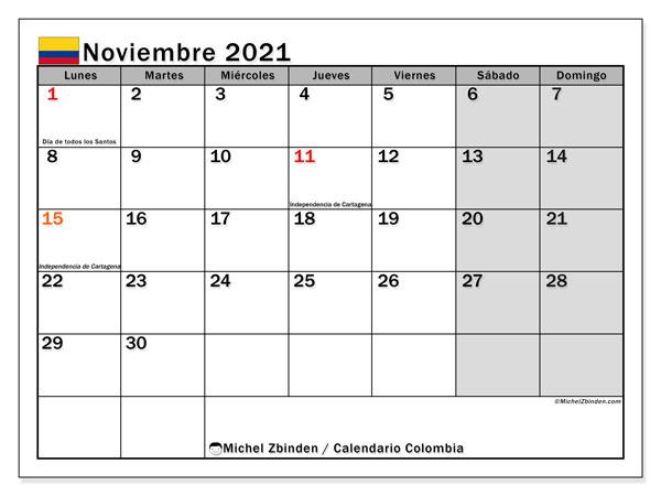 """Calendario """"Colombia"""" noviembre de 2021 para imprimir   Michel"""