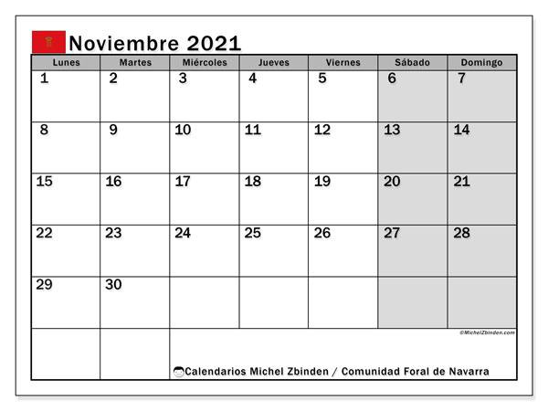 Calendario noviembre 2021, con días feriados de la Comunidad Foral de Navarra. Calendario vacaciones y festivos para imprimir gratis.