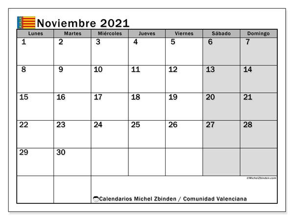 Calendario noviembre 2021, con días feriados de la Comunidad Valenciana. Calendario vacaciones y festivos para imprimir gratis.