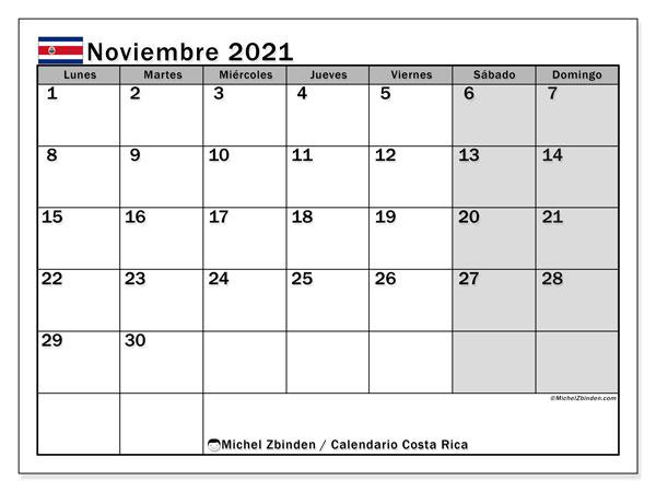 Calendario noviembre 2021, con días feriados de Costa Rica. Calendario para imprimir gratis con días festivos.