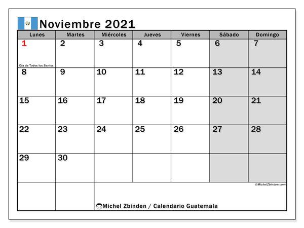 Calendario noviembre 2021, con días feriados en Guatemala. Calendario vacaciones y festivos para imprimir gratis.