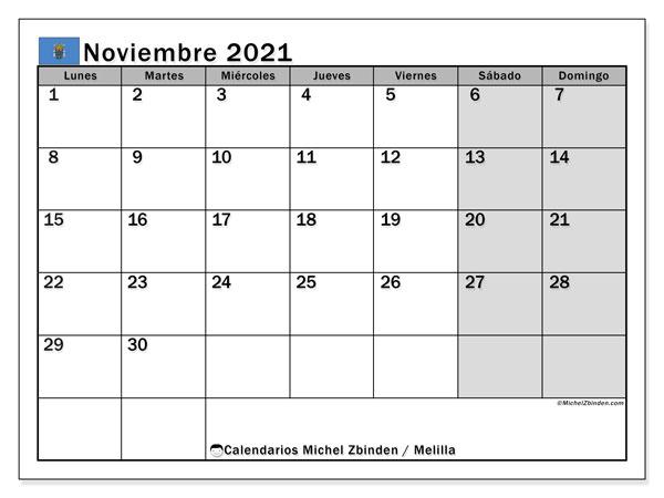 Calendario noviembre 2021, con días feriados en Melilla. Calendario para imprimir gratis con días festivos.