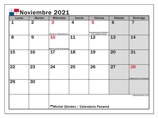 Calendario noviembre 2021, con días feriados de Panamá. Calendario vacaciones y festivos para imprimir gratis.
