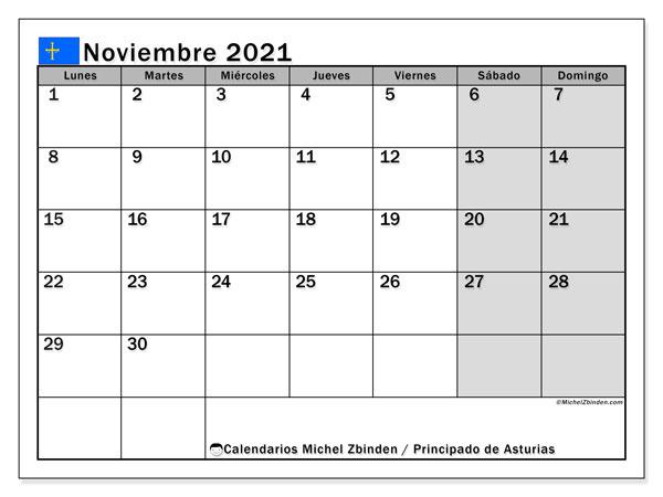 Calendario noviembre 2021, con días feriados del Principado de Asturias. Calendario para imprimir gratis con días festivos.