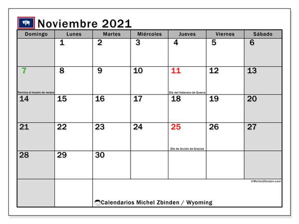 Calendario noviembre 2021, con días feriados de Wyoming. Calendario vacaciones y festivos para imprimir gratis.