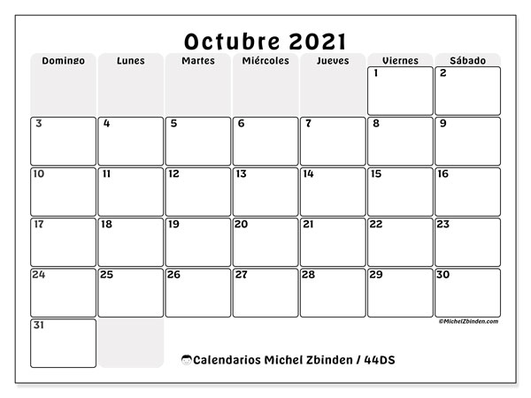 Calendario octubre 2021, 44DS. Calendario mensual para imprimir gratis.