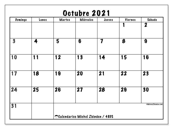 """Calendario De Octubre 2021 Calendario """"48DS"""" octubre de 2021 para imprimir   Michel Zbinden ES"""