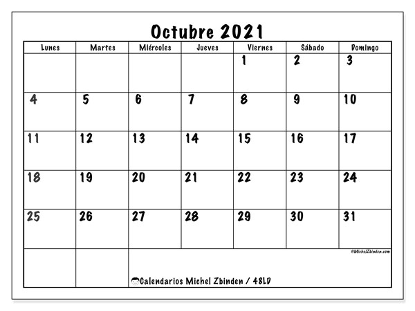 """Calendario De Octubre 2021 Calendarios octubre 2021 """"Lunes   Domingo""""   Michel Zbinden ES"""