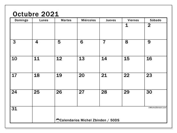 Calendario octubre 2021, 50DS. Almanaque para imprimir gratis.